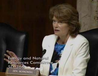 Sen. Murkowski asks questions of the witnesses during the 6/19/14 ENR hearing on LNG exports.