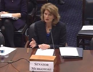 Sen. Murkowski testifies before the House Foreign Relations Subcommittee.