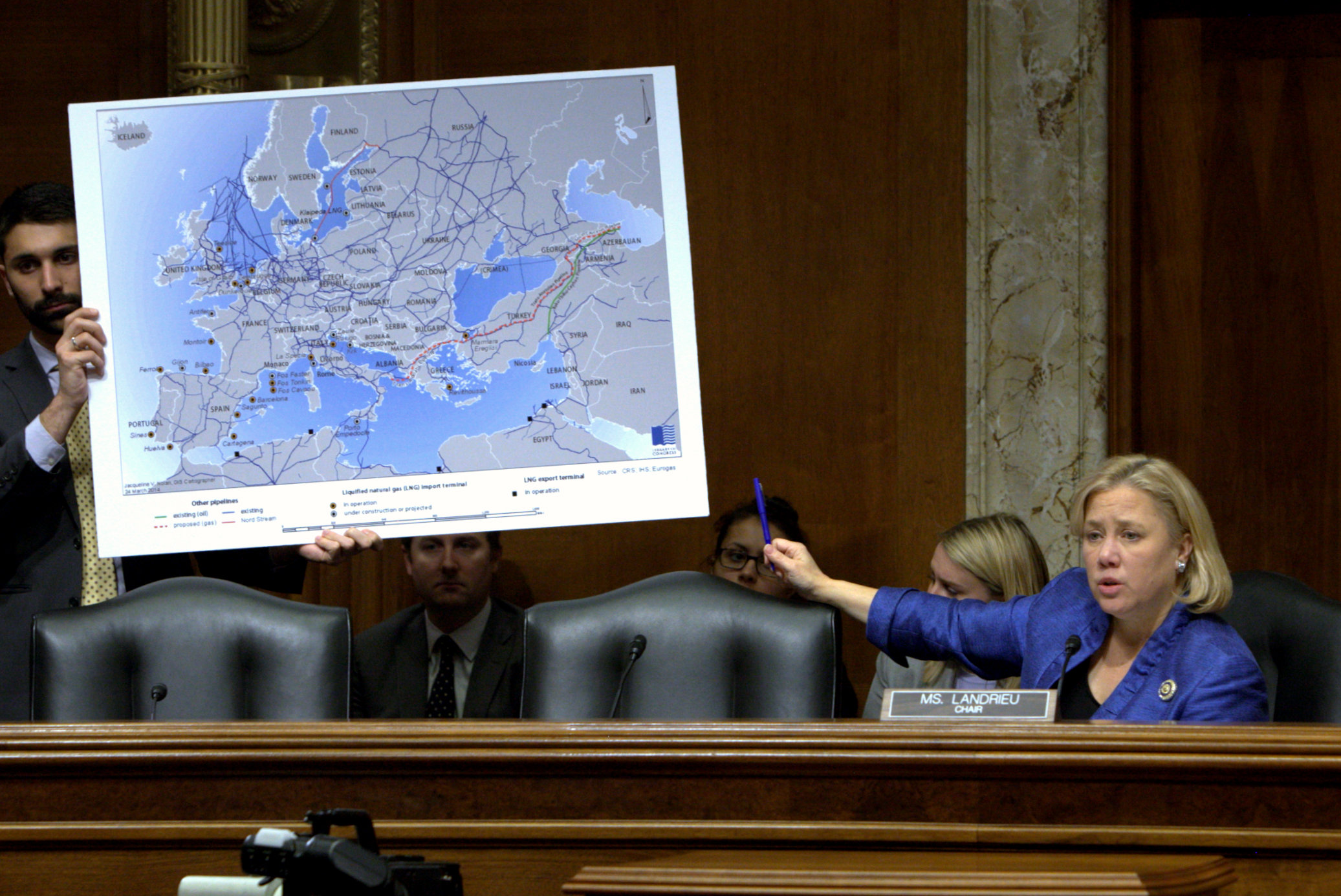 Chair Landrieu points to poster